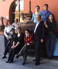 Antonio Argiolas (seated with hat) poses for an extended family portrait with his sons, Giuseppe and Franco, and grandchildren.