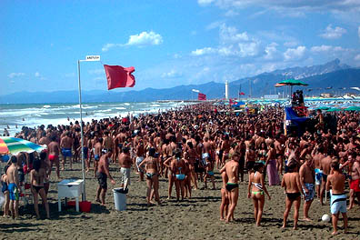The beaches at Viareggio on the Tuscan coast are a popular destination for Italian holiday-makers, as this photograph from last year's Ferragosto weekend demonstrates.
