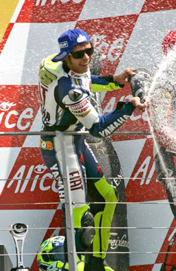 All Italians enjoy popping open a bottle of bubbly, and MotoGP champion Valentino Rossi is no different.