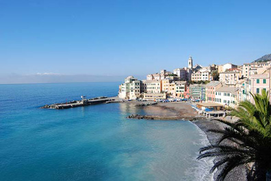 A view of the tranquil Ligurian coastal town of Bogliasco.