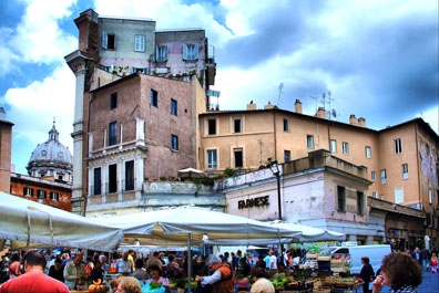 The markets and cafés of Rome's Campo dei Fiori are a popular destination for tourists and locals.