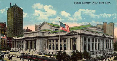 Opened in 1911, the New York Public Library on Fifth Avenue was designed by architects Carrère and Hastings and is regarded as the apogee of Beaux-Arts design.