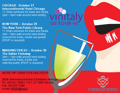 Vinitaly arrives in the Unites States this October.