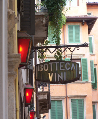 Some of Verona's best wines can be sampled at wine shops like this one.