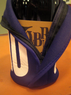 A bottle of Labrusca Rosso fits snugly inside the custom-built Lini bottle-sock.