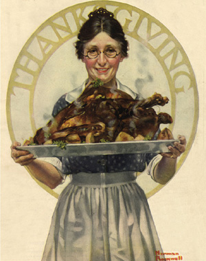 Norman Rockwell's vision of Thanksgiving did not include wine, but there's no reason why yours shouldn't.