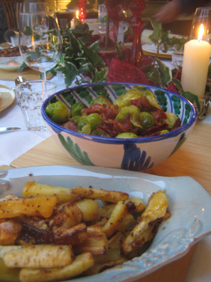 My Mum's brussells sprouts and parsnips on Christmas Day.