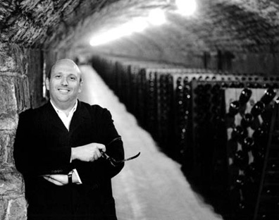 A rare glimpse of Maurizio Zanella without his glasses, in his cellar at the Ca' del Bosco winery in Franciacorta.