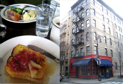 French toast with pear and raspberry for Valentine's Day brunch at the Little Owl (TV sitcom fans may recognize this West Village building).