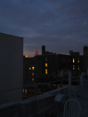 the Empire State Building as glimpsed from the roof of my new building in the East Village.