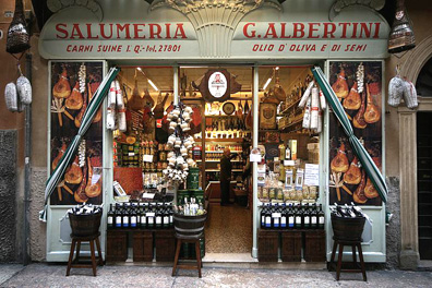 Every Italian town has at least one great store -- like Verona's Salumeria Albertini -- providing cured meats, prime cuts, and much more besides.