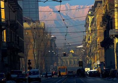 The view from Turin's Via Cernaia looking towards Stazione Porta Susa and the Alps beyond. The constant, imposing presence of mountains on many Italian towns cannot be underestimated.