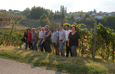 Cascina Castlèt's vineyard staff take a break from their hardwork. The winery is located in Costigliole d'Asti.