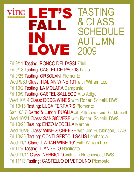 vino fall schedule poster